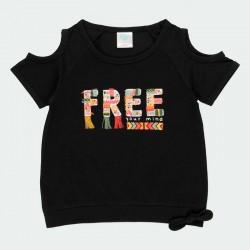 camiseta negra niña estampado print de boboli