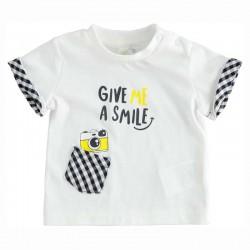camiseta bebe cuadros marino y blanca de ido