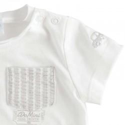detalle camiseta bebe blanca y gris ido