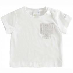 camiseta bebe blanca y gris ido