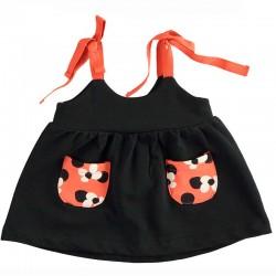 pichi bebe niña negro y naranja