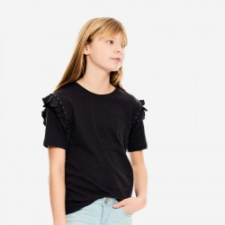 niña con camiseta garcia jeans gris acero