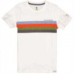 camiseta niño blanca y rayas colores
