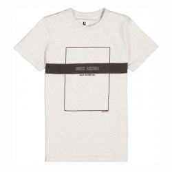 camiseta manga corta niño gris y marino