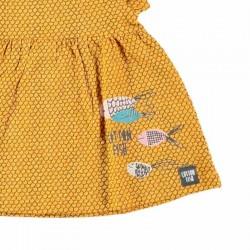 estampado vestido bebe mostaza de cotton fish