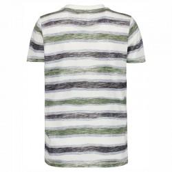 camiseta manga corta niño rayas verdes de garcia jeans por detrás