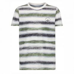 camiseta manga corta niño rayas verdes de garcia jeans