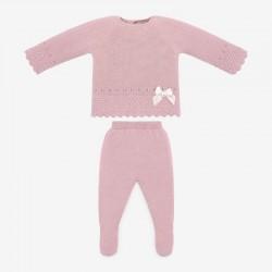 conjunto jubón y polaina rosa de bebé paz rodriguez