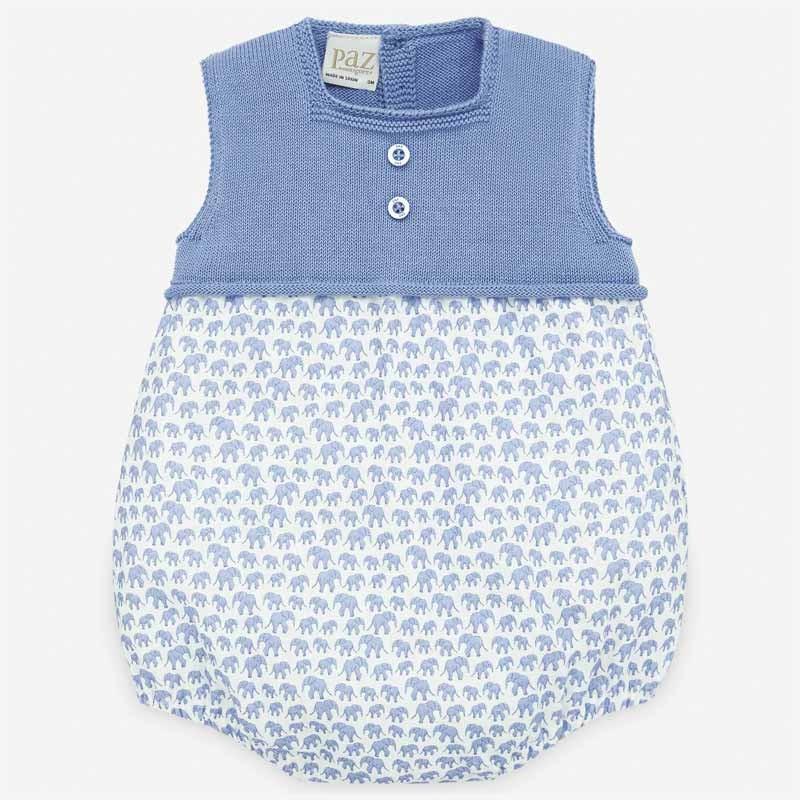 pelele bebe azul de elefantes paz rodriguez