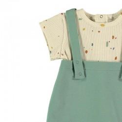 detalle conjunto peto mas camiseta bebe verde y vainilla