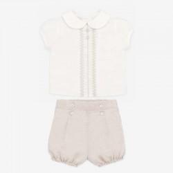 conjunto vestir de bebé crudo y natural