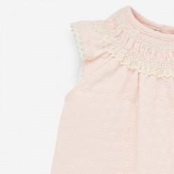 detalle cuello puntilla vestido bebe mandarina de paz rodriguez