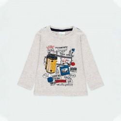 camiseta manga larga bebe niño gris de boboli