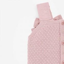 detalle tirantes vestido punto y plumeti rosa de paz rodriguez