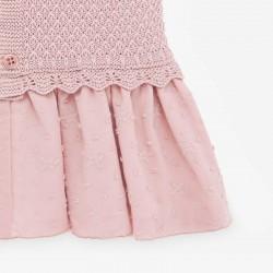 vestido bebe con tejido punto y plumeti rosa
