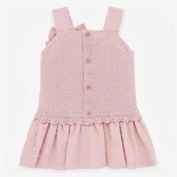 vestido punto y plumeti rosa de paz rodriguez por detrás