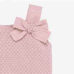 detalle lazo vestido punto y plumeti rosa de paz rodriguez