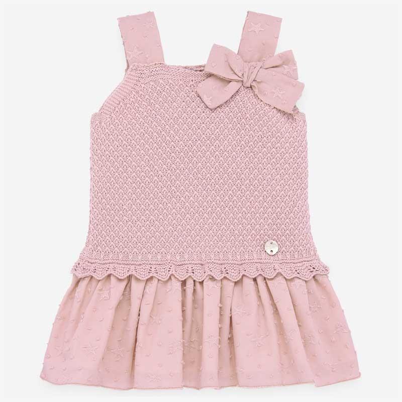 vestido punto y plumeti rosa de paz rodriguez