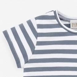 detalle camiseta bebe niño rayas azul artico