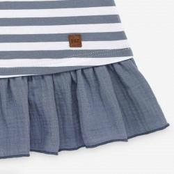 detalle marca vestido bebe punto a rayas azules de paz rodriguez