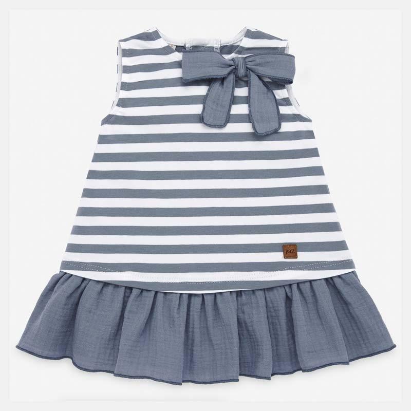 vestido bebe punto a rayas azules de paz rodriguez
