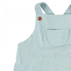detalle bolsillo ranita bebé azul claro y peces de cotton fish