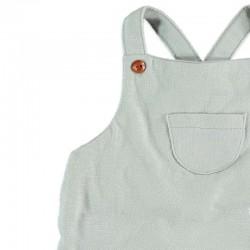 detalle bolsillo ranita bebe gris y peces de cotton fish