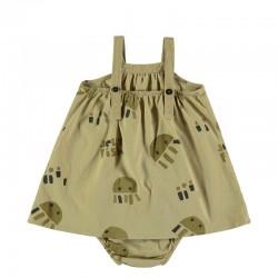 vestido tirantes bebe mostaza y medusas con braguita por detrás