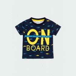 camiseta boboli niño azul y tiburones amarillos