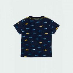 camiseta boboli niño azul y tiburones amarillos por detrás