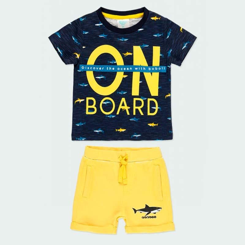 conjunto boboli de niño amarillo y azul con tiburones