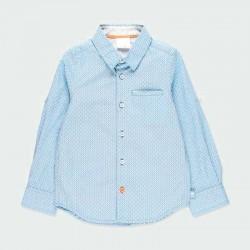 camisa manga larga niño azul y flores naranja
