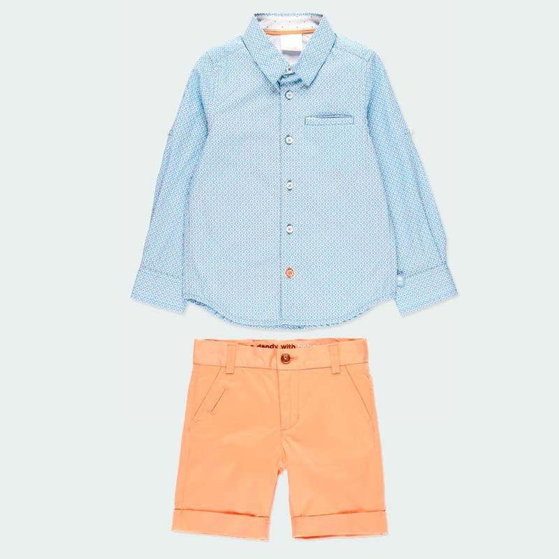 conjunto niño camisa y bermuda naranja boboli
