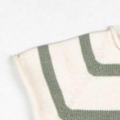 detalle jersey bebe rayas verde mint y crudo