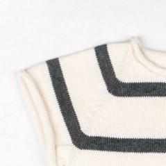 detalle jersey bebe manga corta rayas gris de liandme