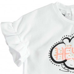 volante manga camiseta niña corta blanca y fluor coral