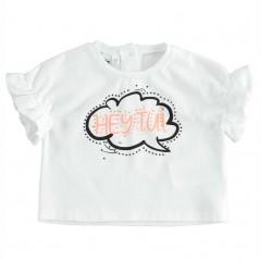 camiseta niña corta blanca y fluor coral