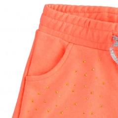 detalle brillitos short niña fluor coral de ido