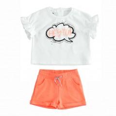 conjunto niña manga corta coral fluor y blanco