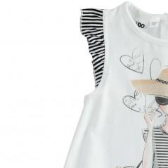 detalle volante vestido desmangado niña ido rayas marino