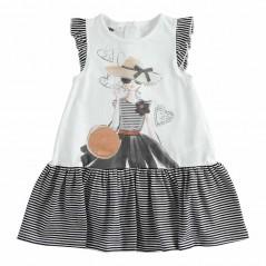 vestido desmangado niña ido rayas marino