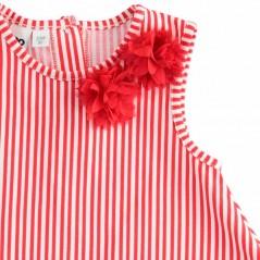 detalle vestido niña veraniego rayas rojas