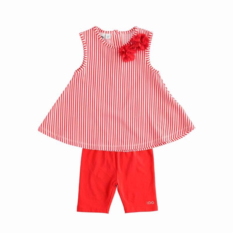 conjunto niña rojo y rayas de ido