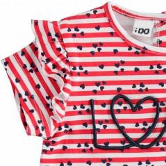 detalle volantes camiseta niña rayas rojas de ido