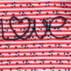 detalle bordado camiseta niña rayas rojas de ido