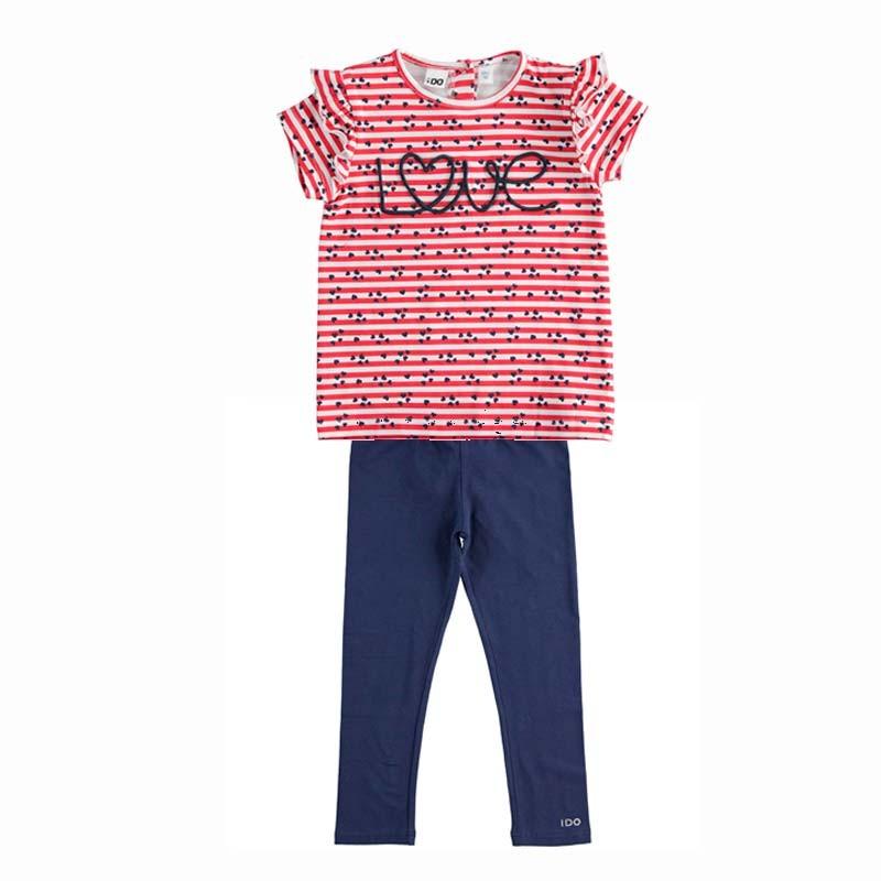 conjunto niña camiseta rayas y leggins marino de ido