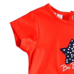 detalle vestido bebe niña rojo y estrellas marino