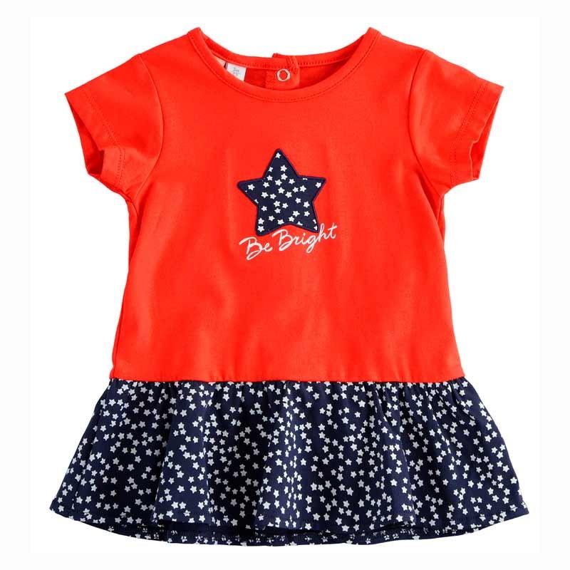 vestido bebe niña rojo y estrellas marino