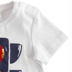 detalle botones camiseta niño blanca semaforo de lentejuelas