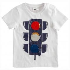 camiseta niño blanca semaforo de lentejuelas